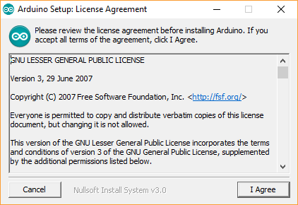 Arduino IDE License Agreement